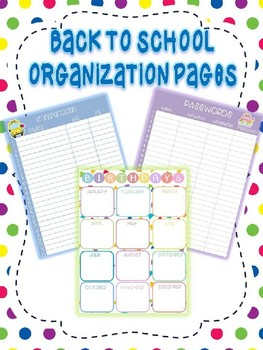 EDITABLE  Back to School Organization Pages