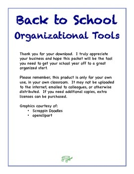 Back to School Organizational Tools