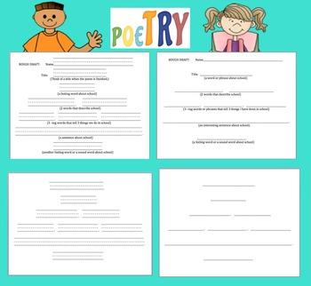 Back to School Activities:  Original Student Poem Graphic Organizer