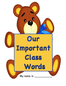 """Back-to-School """"Our Important Classroom Words"""" Booklet"""