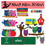 Back to School Owl Clip Art in Color and Black Line