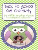 Back to School Owl Craftivity