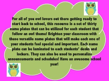 Back-to-School: Owl Name Plate Labels