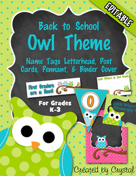 Back to School Owl Theme {Editable}