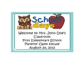 Back to School Owl Theme Open House, Parent Night Power Point Template