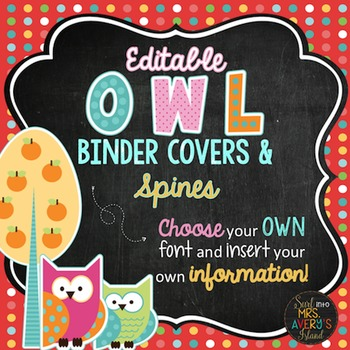 Back to School:  Owl Themed Editable Binder Covers and Spines
