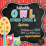 Owl Themed Binder Covers and Spines - Editable