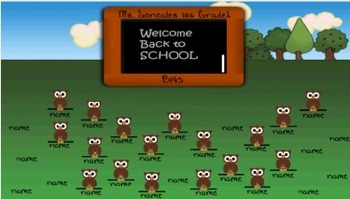 Back to School Owl theme Attendance chart