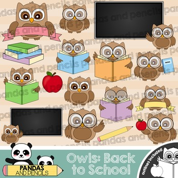 Back to School Owls Theme Clip Art - Color and Black & White Outlines