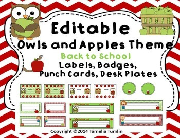 Back to School Owls and Apples  Labels, Deskplates, Punch Cards and Badges!