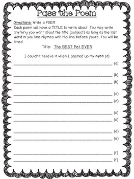 Back to School PASS the POEM Activity
