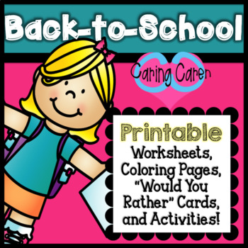 "Back to School PRINTABLE Activities, ""Would You Rather Game"" and Worksheets!"