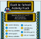 Beginning of the Year Activity Pack (Back to School)