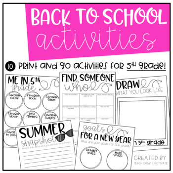 Back to School Pack {5th Grade}