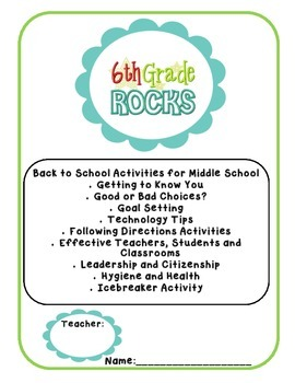 Back to School Pack - 6th (Sixth) Grade - No Prep - High Interest