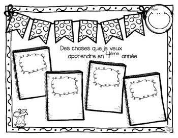 Back to School Pack Grade 4 ~ French ~ La rentrée