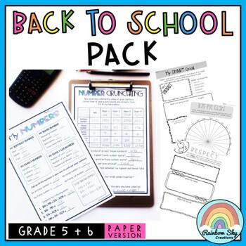 Back to School Activities Pack - Grades 5 - 6 {Paper}