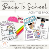 First Week Back to School - Lesson Ideas and Activities