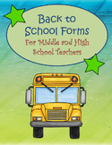 Back to School Forms for Teachers