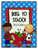 Back to School Pack for Kindergarten and 1st Grade