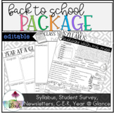 Back to School Package: Syllabus, Newsletter, Student Surv
