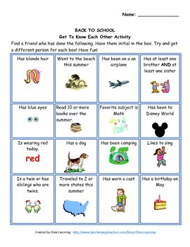 Back to School Packet and Activities