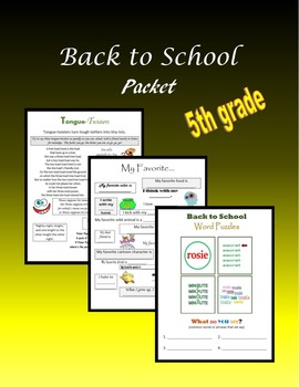 Back to School Packet:  5th grade