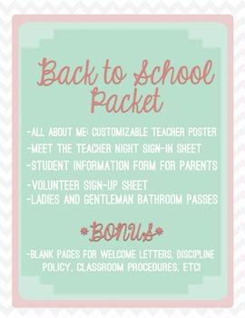 Teacher Binder: About Me, Meet the Teacher Sign In, Sign U