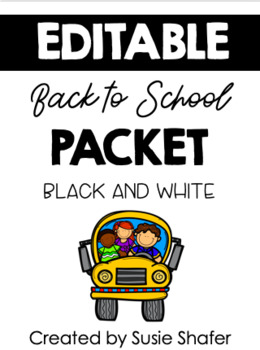 Back to School Packet {Black and White}