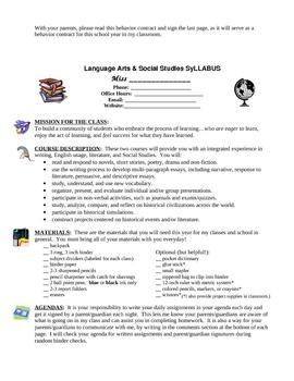 Back to School Packet - Letter, Behavior, Syllabus