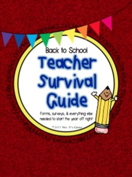 Back to School Packet - Teacher Survivor Guide - First Days of School