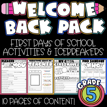 Back to School Packet: Welcome to 5th Grade [NO PREP]