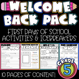 First Day of School: Welcome to 5th Grade [NO PREP]