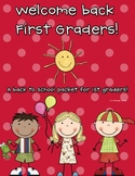 Back to School Packet for 1st Graders! ( Thanks for your f
