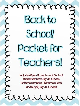 Back to School Packet for Teachers!