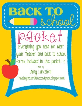 Back to School Packet of Forms  and Activities