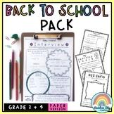 Back to School Activities Pack - Grade 3 - 4 {Paper} Australia NO PREP