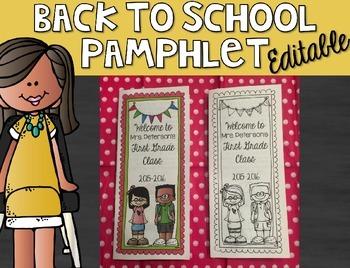 Back to School Pamphlet {Editable} Melonheadz Edition