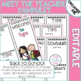 Back to School Pamphlet for Meet the Teacher {editable}