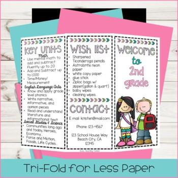 Back to School Pamphlet for Meet the Teacher {editable}