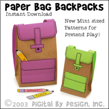 Back to School Paper Bag Backpack Printable and Writing Activity