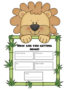 Jungle Themed Back to School Papers