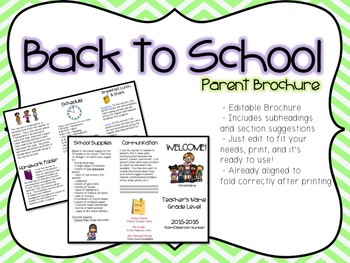 Back to School Parent Brochure (Editable)