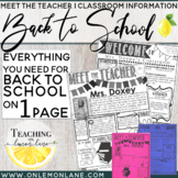 Meet the Teacher Open House Parent Classroom Info / Back to School Bundle