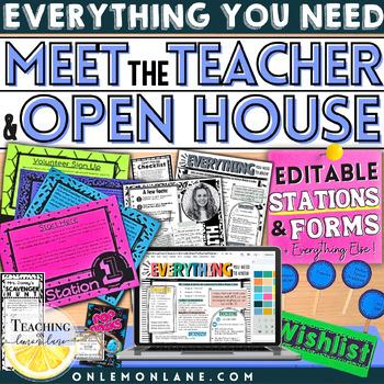 Open House Parent Classroom Info / Meet the Teacher Back t