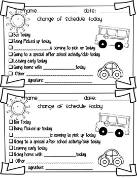 Back to School Parent Communication Checklists & Notes with Editable Version
