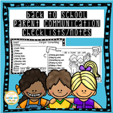 Parent Communication Checklists and Notes with Editable Parts