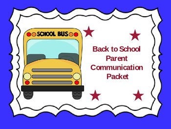 Back to School Parent Communication Packet