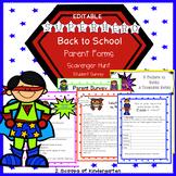 Back to School Parent Forms (Editable) Superhero theme