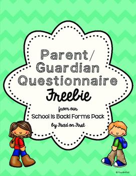 Back to School Parent/Guardian Questionnaire FREEBIE